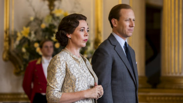 Olivia Colman and Tobias Menzies in the third season of The Crown.