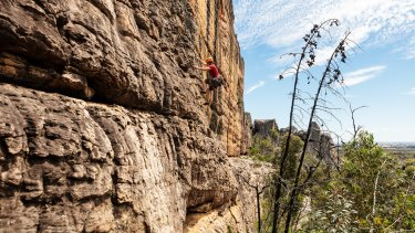 Rock climbers at the Wall of Fools in the Summerday Valley in the Grampians National Park.
