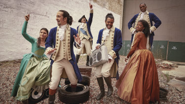 Lin-Manuel Miranda (second from left) and members of the original Hamilton cast. The show's Australian cast will be announced on Monday.