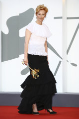 Frilled to bits: Tilda Swinton in Chanel at the Venice Film Festival.