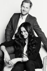 Portrait of Prince Harry and Meghan Duchess of Sussex to promote their Time100 talk.
