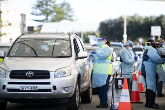 Bondi Beach's drive-through testing clinic was processing large numbers of people on Thursday.
