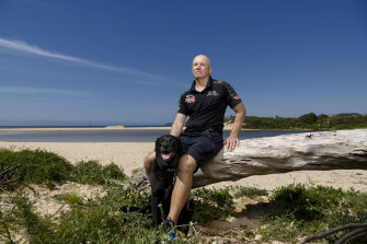 Ash Cleary, the brother of Penrith Panthers coach Ivan Cleary, at Long Reef beach in grand final week, three years on from a kidney transplant that saved his life.