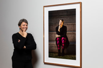 Michelle Simmons with her portrait during her time as 2018 Australian of the Year.