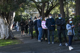 People queueing for a COVID test at a clinic on Beaconsfield Street in Alexandria.