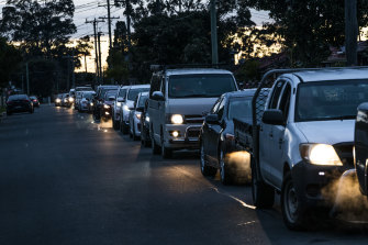 Long queues wait for testing at the 24-hour COVID drive-through clinic in Fairfield.