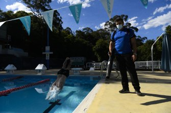 Aquatics operation co-ordinator Ali Minoosepehr prepares for the reopening of Epping Aquatic and Leisure Centre on Monday after an easing of COVID-19 restrictions.
