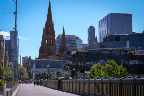 Melbourne CBD is pictured on Wednesday, deep in its sixth lockdown.