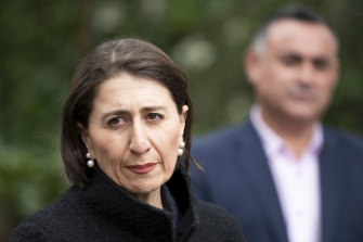 NSW Premier Gladys Berejiklian and Deputy Premier John Barilaro at a media conference on Friday.