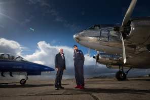 Field of dreams: The father and son team at Essendon Fields Airport with their vintage DC-3  airliner (right) and their L39 Albatros jet trainer.