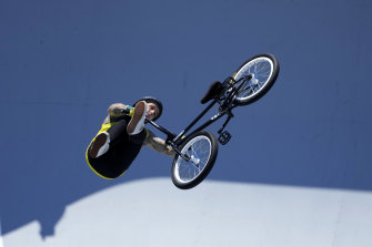 He flew: Logan Martin of Australia wins gold at the men's BMX freestyle at the Tokyo Olympics.