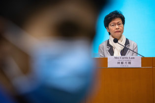 Hong Kong's Chief Executive Carrie Lam at a news conference on Saturday.