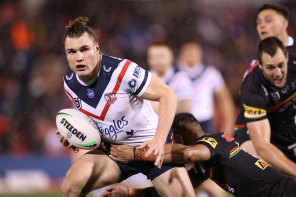 Angus Crichton kept trying to the end for the beaten Sydney Roosters.
