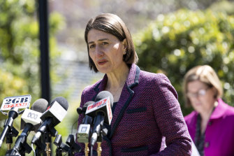 NSW Premier Gladys Berejiklian provides a COVID-19 update at Parliament House in Sydney on Wednesday.