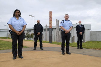 Aboriginal cultural and religious advisers Lisa Laurie and Shayne Rawson (far right) with correctional supervisor Damian Beetson and general manager Glen Scholes at the Clarence Correctional Centre.