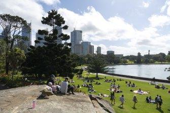 Sydneysiders enjoying the spring weather on Saturday.