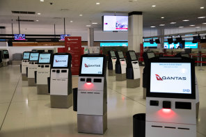 An empty check-in area at Sydney International Airport on Wednesday as the LGA lockdown took effect.