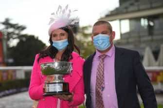Trainers Natalie Young and Trent Busuttin after Sierra Sue won the Sir Rupert Clarke Stakes at Caulfield last month.