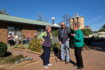 Hazel and Alan Boxall, with Joy Mitchell, are residents of the Woomelang retirement units, among social housing projects built by Yarriambiack Shire.