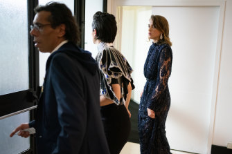 French actors Noémie Merlant, centre, and Adèle Haenel, right, leave the Cesar Film Awards 2020 Ceremony when the award for best director was given to Roman Polanski.