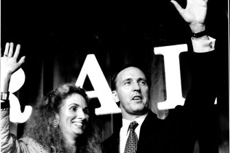 """The """"sweetest victory of all"""": Paul Keating with his then wife Anita on election night in 1993."""