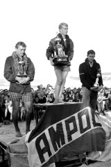 Winner Midget Farrelly, with Mike Doyle, 2nd, (left) and Joey Cabell, 3rd (right).