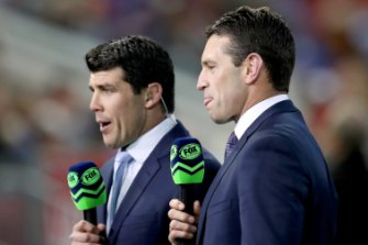 Sound bites: Michael Ennis with fellow Fox league commentator Danny Buderus.