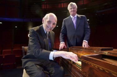 Frederick Beck 'square' piano with Stewart Symonds (at the keyboard) and Prof Geoffrey Lancaster.