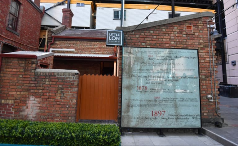The current front of Little Lon Distilling Co, 17 Casselden Place, off Little Lonsdale Street, is actually its rear. The cottage's front is blocked off by a construction site.