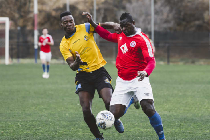 FC striker Michael Mensah put in a powerful shift up forward.