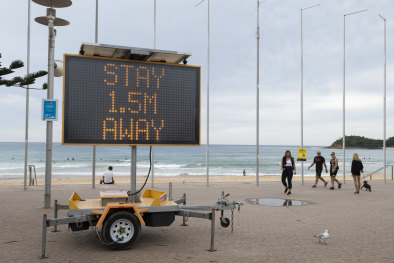Manly Beach on Friday, during the coronavirus lockdown.