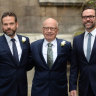Rupert Murdoch flanked by sons Lachlan, left, and James at Rupert and Jerry Hall's wedding blessing at St Brides Church in Fleet St, London, in 2016.
