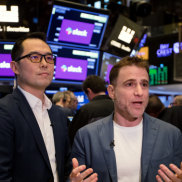 Stewart Butterfield, chief executive of Slack with colleague Allen Shim.