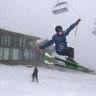 A skier takes a jump at Mt Buller Ski Resort on Saturday.