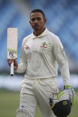 Usman Khawaja leaves the field after his great ton.