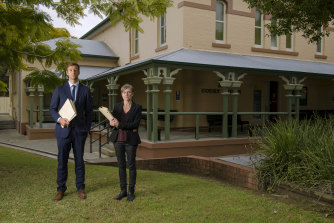 NSW Aboriginal legal service lawyers Binnie O'Dwyer and Riley Owen outside the Casino Court House.
