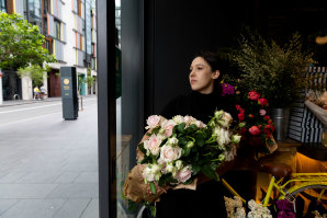 Florist Anna Kozhanova, at Bel & Brio food hall, thinks it's too soon to ponder what business might look like by the end of the year, let alone in 2021.