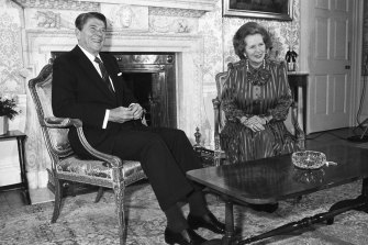 US President Ronald Reagan sits with British Prime Minister Margaret Thatcher at 10 Downing Street, London in 1984.