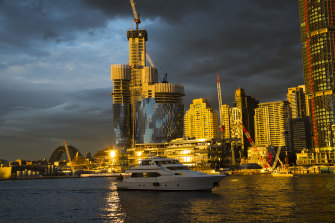 The under-construction Crown resort at Sydney's Barangaroo has added to the RLB crane index