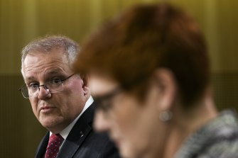 Prime Minister Scott Morrison and Minister for Foreign Affairs Marise Payne .