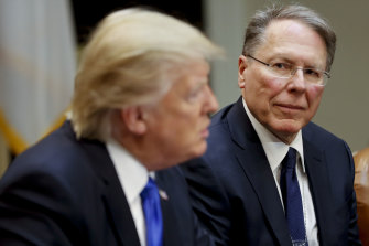 NRA boss Wayne LaPierre, right, with US President Donald Trump in the Roosevelt Room of the White House in February 2017.