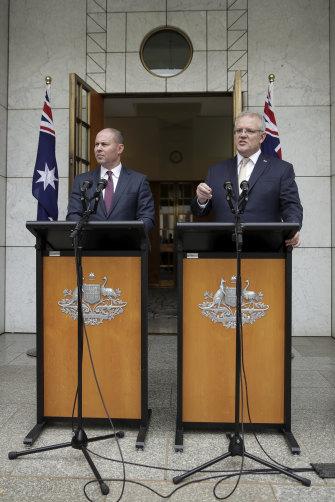 Treasurer Josh Frydenberg and Prime Minister Scott Morrison in Canberra on March 12.