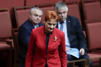 Pauline Hanson and Centre Alliance's Stirling Griff and Rex Patrick.