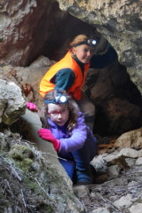 Tim's daughters, Sarah and Emily, explore the underground world of Yarrangobilly Caves.