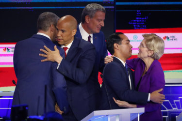 Ten candidates took to the stage. But one President took to his phone