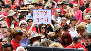 Anti-Adani protestors gathered at Crosby Park in Brisbane on Saturday.