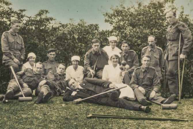 Crutches and croquet mallets  are part of the tableaux as soldiers recuperate.