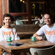 Nic Marchesi, left, and Lucas Patchett, co-founded not-for-profit Orange Sky Laundry in 2014.
