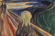 Edvard Munch's The Scream. Parts of the painting's 1910 version that were once brilliant orangish-yellow are now an ivory white.