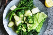 Neil Perry's boiled mixed greens with olive oil and lemon.
